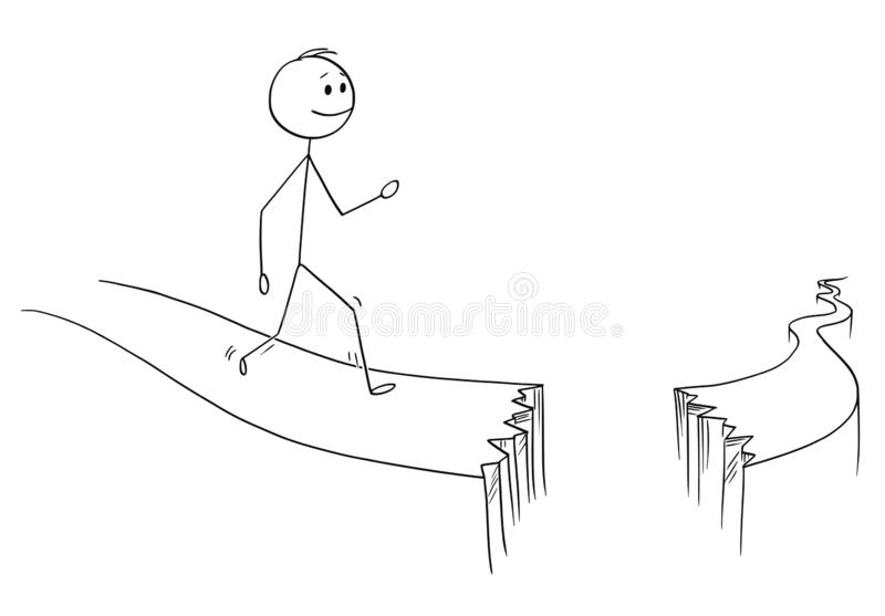 Fumetto dell'uomo o dell'uomo d'affari Walking sul percorso rotto royalty illustrazione gratis