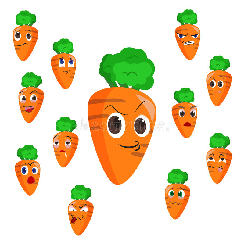 Fumetto della carota con molte espressioni illustrazione vettoriale