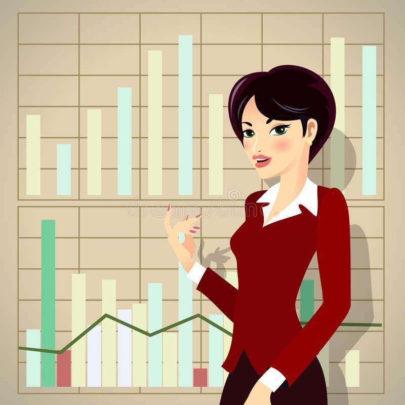 Fumetto della donna di affari che presenta proposta illustrazione di stock