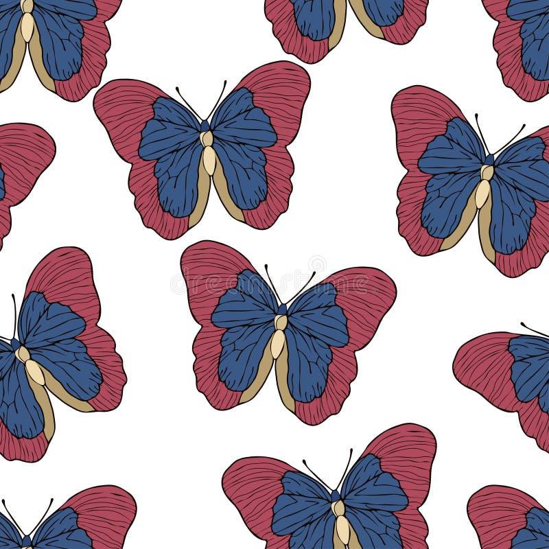 Fumetto della farfalla che disegna modello senza cuciture, fondo di vettore Insetto disegnato astrazione con le ali blu rosse su  illustrazione vettoriale