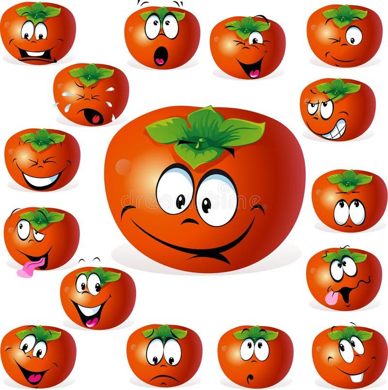 Fumetto della frutta del cachi con molte espressioni royalty illustrazione gratis