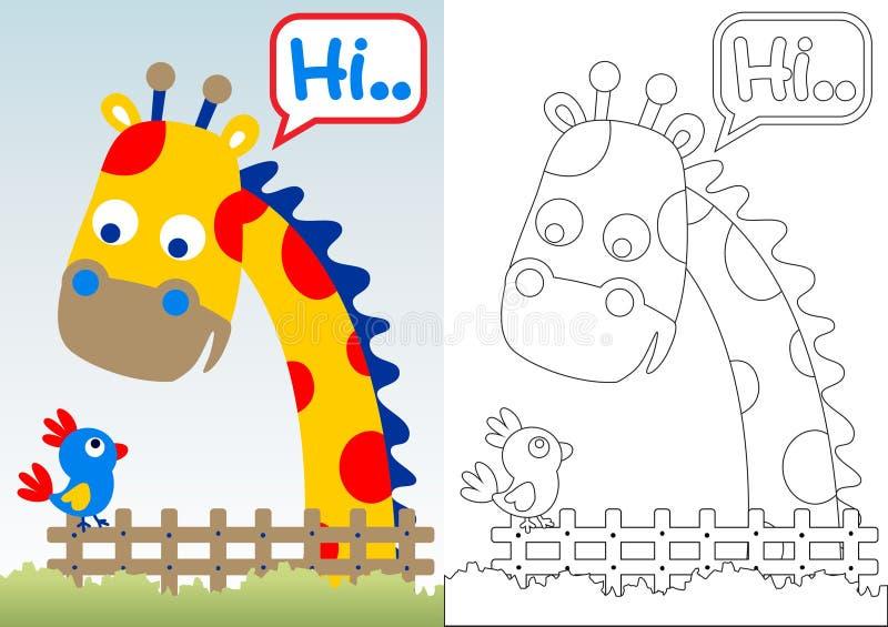 Fumetto della giraffa con poco uccello illustrazione di stock