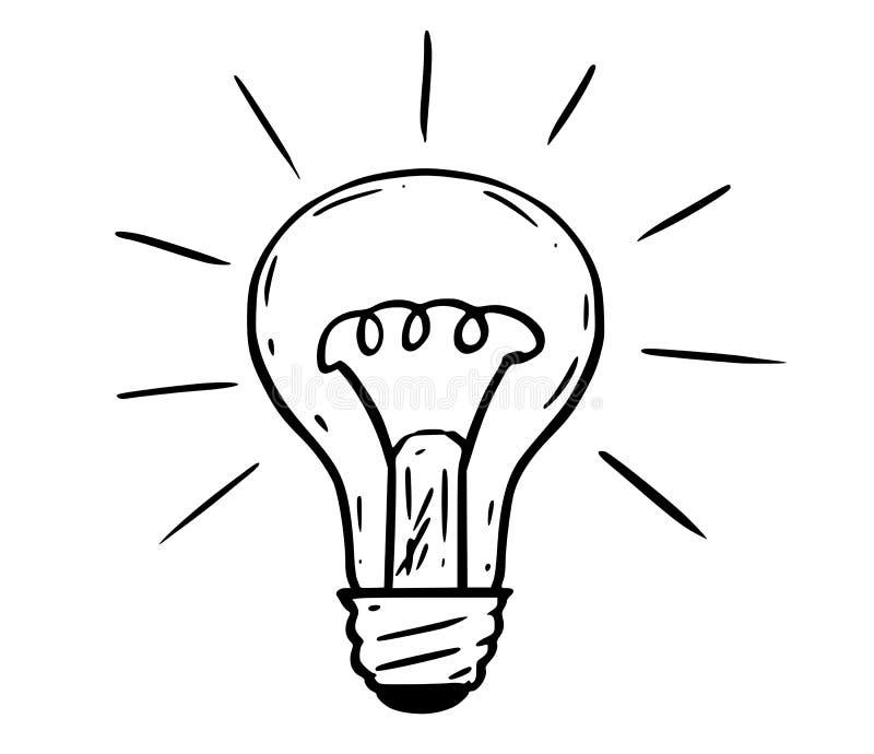 Fumetto della lampadina brillante illustrazione di stock