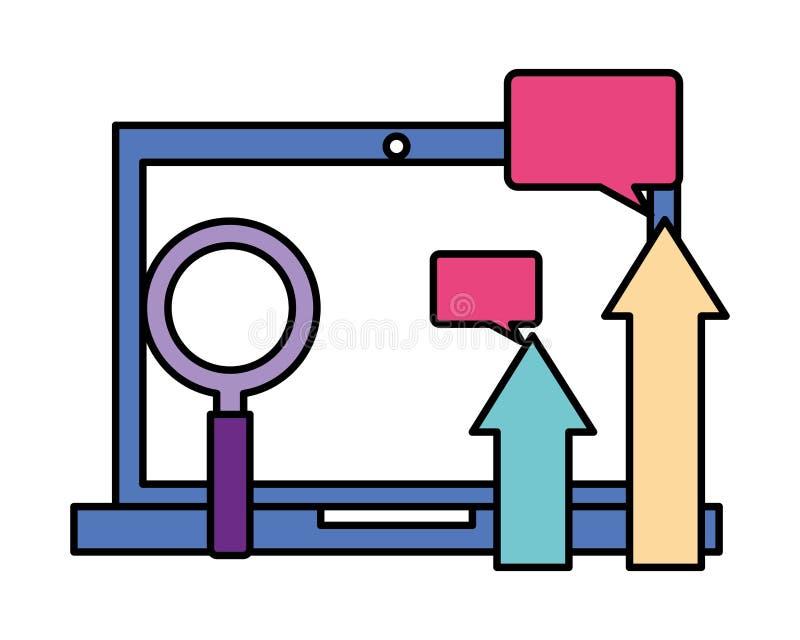 Fumetto della lente d'ingrandimento delle frecce del computer portatile illustrazione di stock