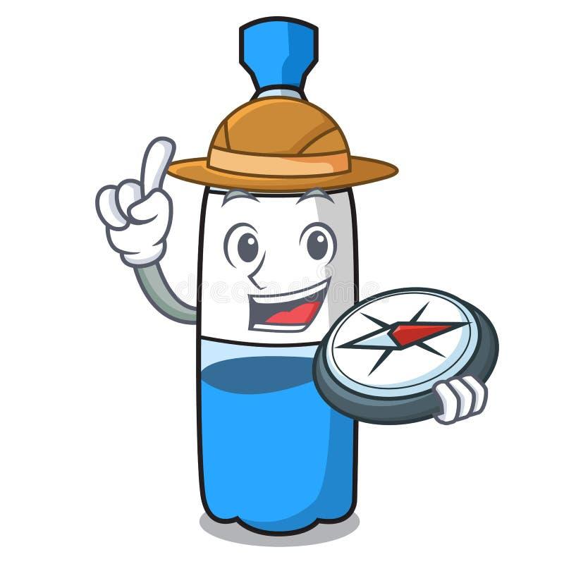 Fumetto della mascotte della bottiglia di acqua dell'esploratore royalty illustrazione gratis
