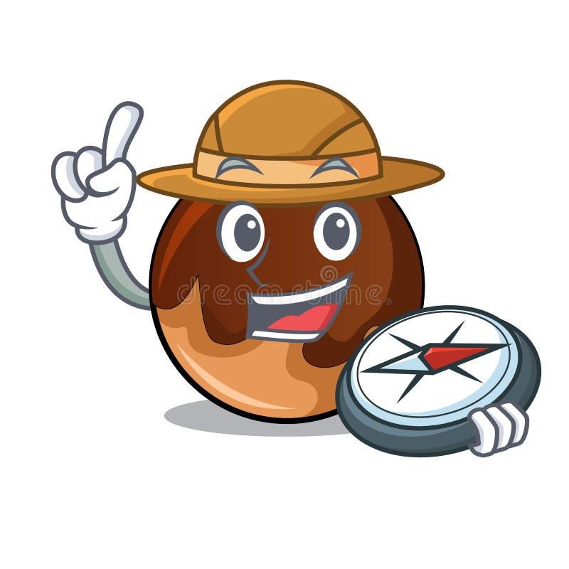 Fumetto della mascotte della ciambella del cioccolato dell'esploratore illustrazione vettoriale