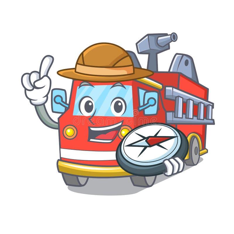 Fumetto della mascotte del camion dei vigili del fuoco dell'esploratore illustrazione di stock