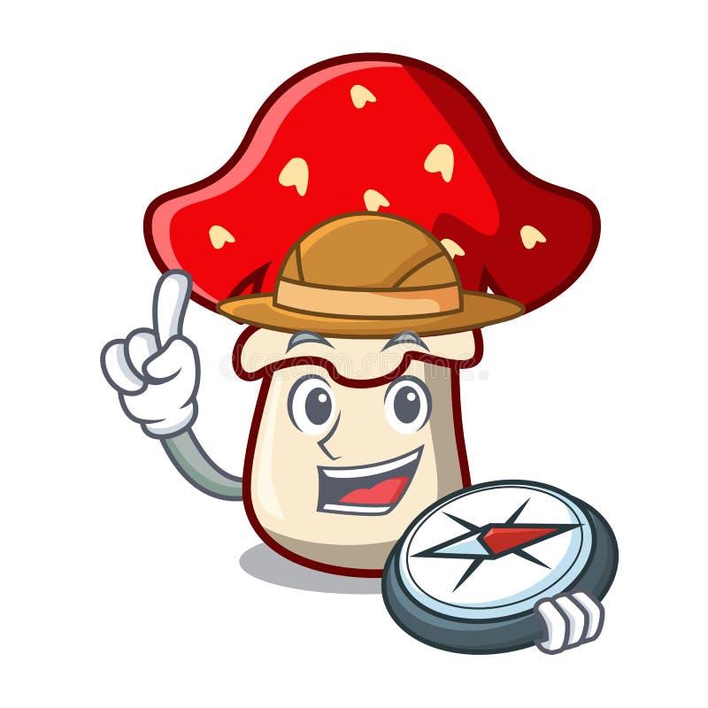 Fumetto della mascotte del fungo dell'amanita dell'esploratore royalty illustrazione gratis
