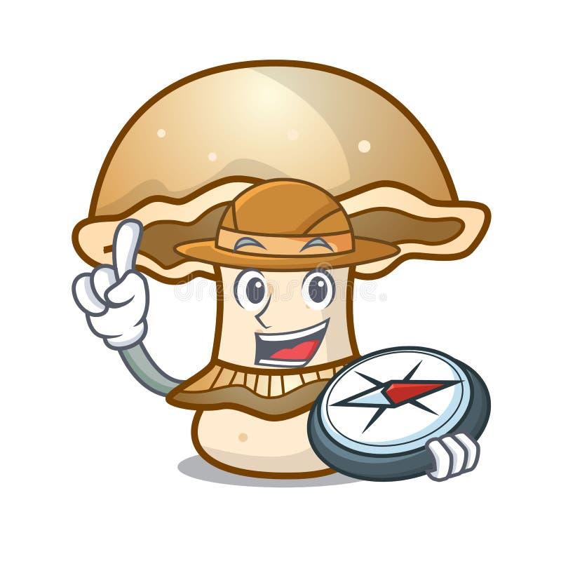 Fumetto della mascotte del fungo di portobello dell'esploratore illustrazione vettoriale