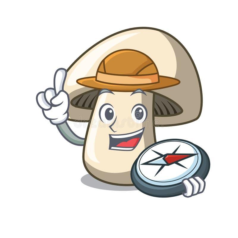Fumetto della mascotte del fungo del fungo prataiolo dell'esploratore illustrazione di stock