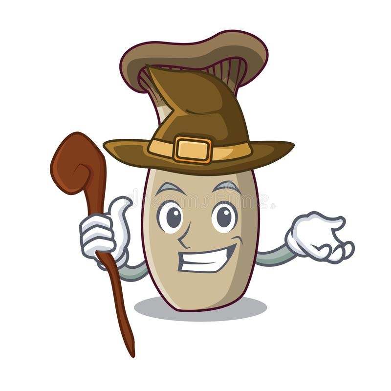 Fumetto della mascotte del fungo della tromba di re della strega illustrazione di stock