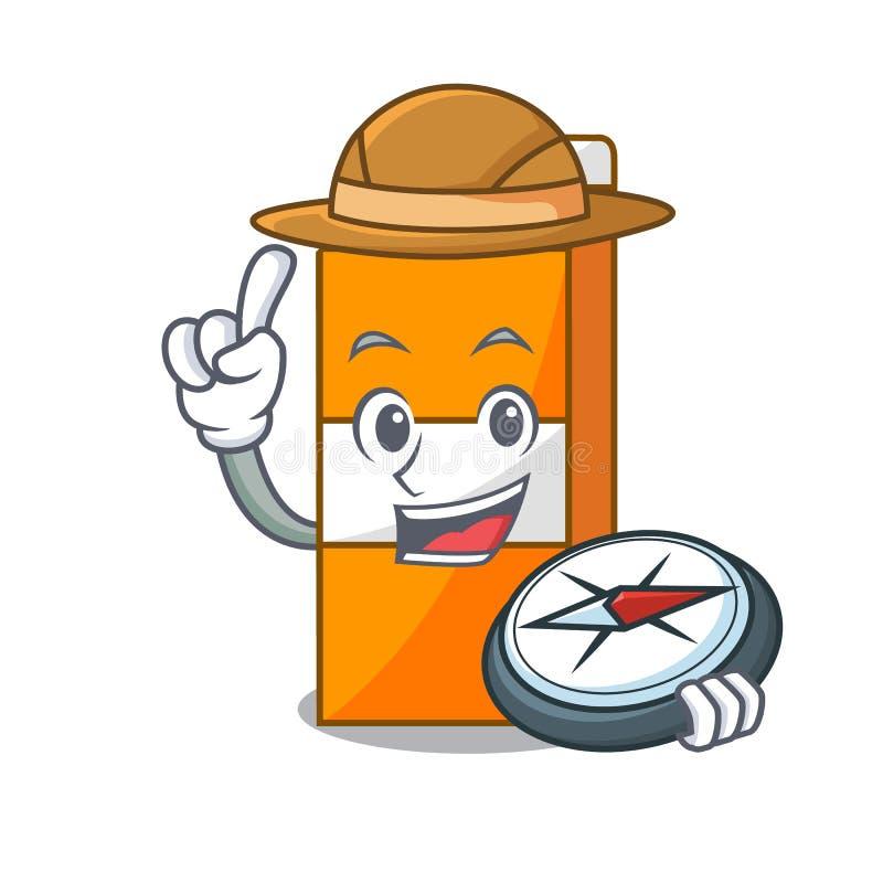 Fumetto della mascotte del succo del pacchetto dell'esploratore illustrazione di stock