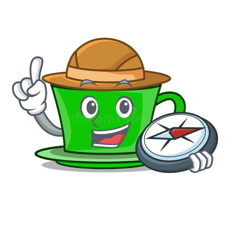 Fumetto della mascotte del tè verde dell'esploratore illustrazione vettoriale