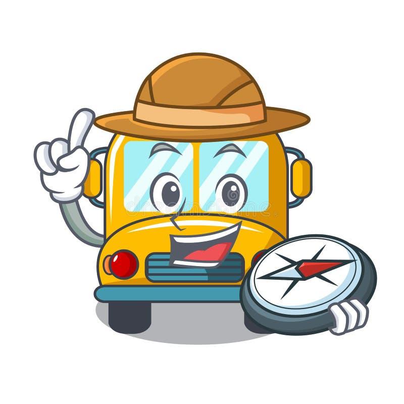 Fumetto della mascotte dello scuolabus dell'esploratore royalty illustrazione gratis