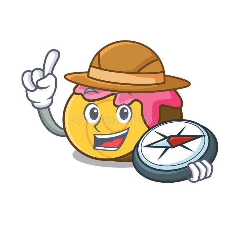 Fumetto della mascotte dello swiss roll dell'esploratore royalty illustrazione gratis
