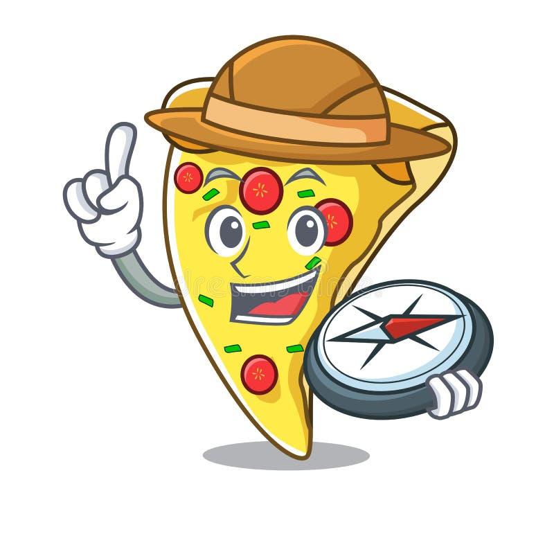 Fumetto della mascotte della fetta della pizza dell'esploratore royalty illustrazione gratis