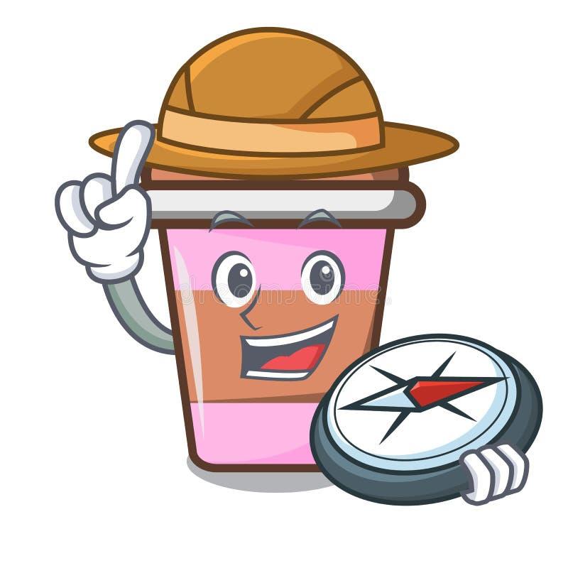 Fumetto della mascotte della tazza di caffè dell'esploratore illustrazione di stock