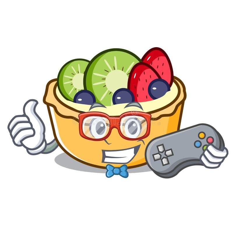 Fumetto della mascotte della torta di frutta del Gamer royalty illustrazione gratis