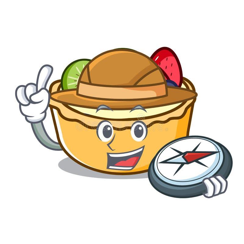 Fumetto della mascotte della torta di frutta dell'esploratore illustrazione di stock