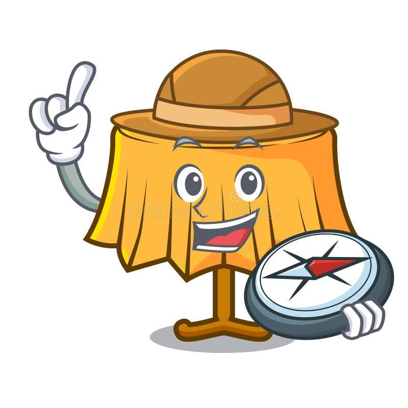 Fumetto della mascotte della tovaglia dell'esploratore illustrazione vettoriale