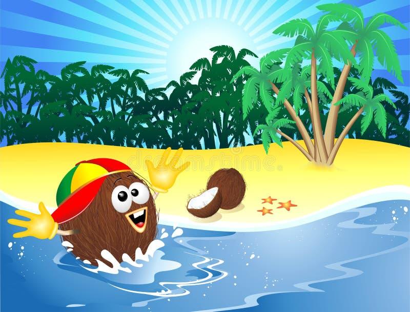 Fumetto della noce di cocco che gioca sulla spiaggia tropicale royalty illustrazione gratis