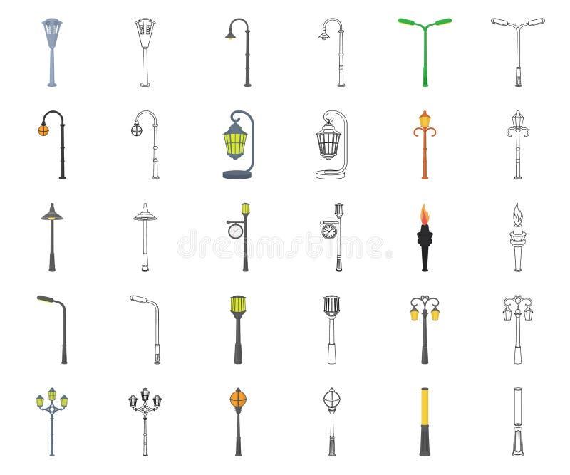 Fumetto della posta della lampada, icone del profilo nella raccolta stabilita per progettazione La lanterna e l'illuminazione vec royalty illustrazione gratis