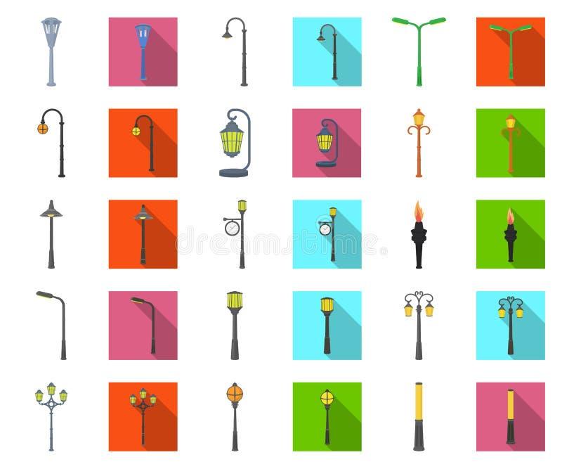Fumetto della posta della lampada, icone piane nella raccolta stabilita per progettazione La lanterna e l'illuminazione vector l' illustrazione vettoriale