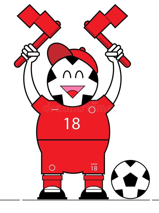Fumetto della ragazza pon pon dell'uomo di calcio fotografia stock libera da diritti