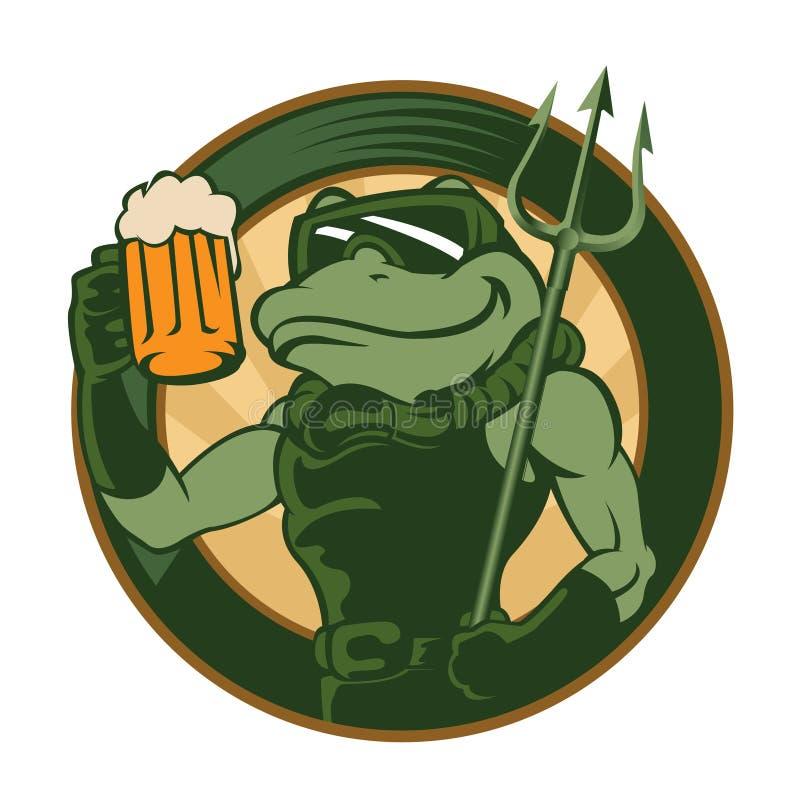 Fumetto della rana con birra illustrazione vettoriale