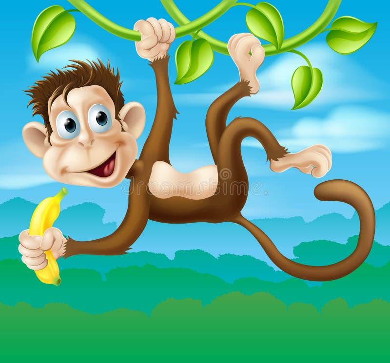 Fumetto della scimmia in giungla che oscilla sulla vite illustrazione di stock