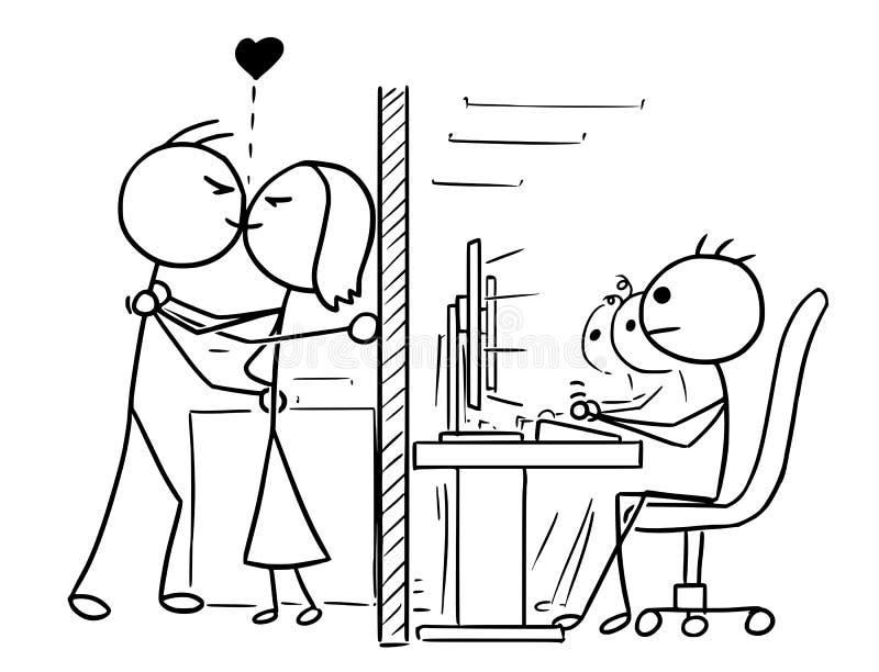Fumetto delle coppie della donna e dell'uomo nell'amore che bacia all'ufficio, lavoro, W illustrazione vettoriale