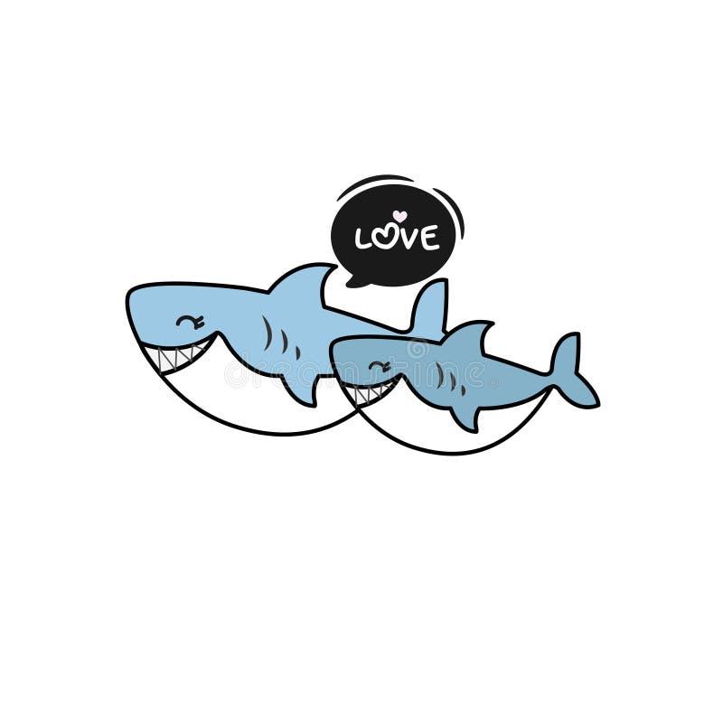 Fumetto dello squalo del bambino e dello squalo royalty illustrazione gratis