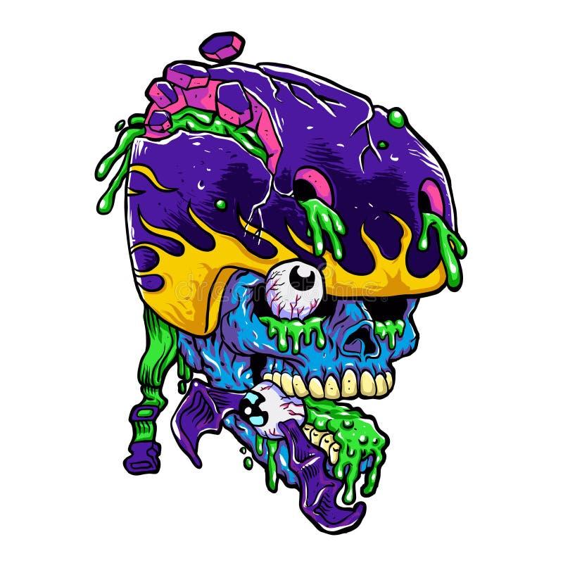 Fumetto dello zombie del pattinatore illustrazione vettoriale