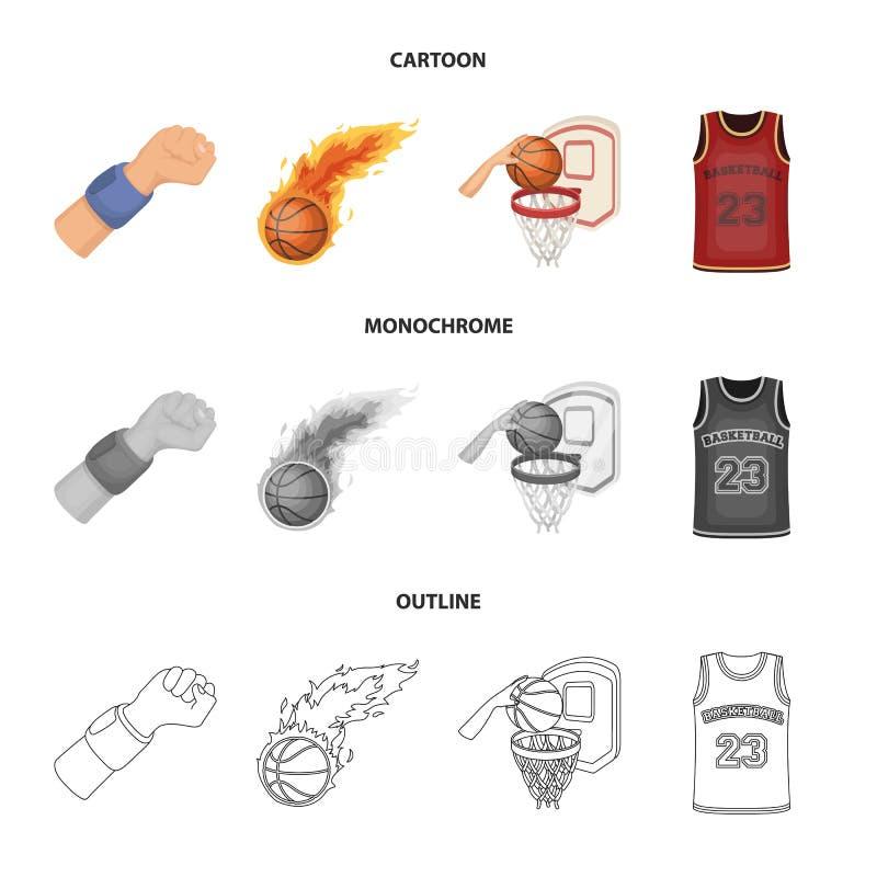 Fumetto di attributi e di pallacanestro, profilo, icone monocromatiche nella raccolta dell'insieme per progettazione Giocatore di illustrazione di stock