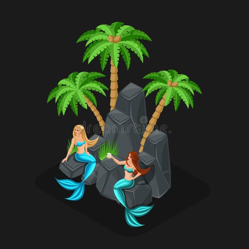 Fumetto di concetto del gioco di Isometrics con i caratteri di fiaba, sirene, ragazze, mare, pesce, isole, pietre, oceano Illustr royalty illustrazione gratis