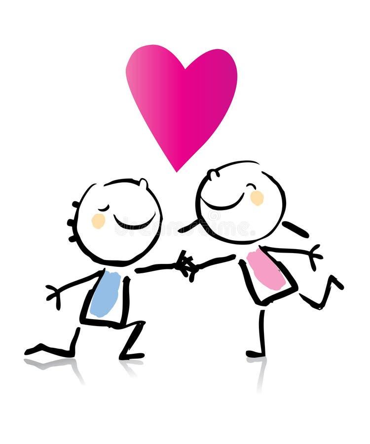 Fumetto di giorno del biglietto di S. Valentino royalty illustrazione gratis