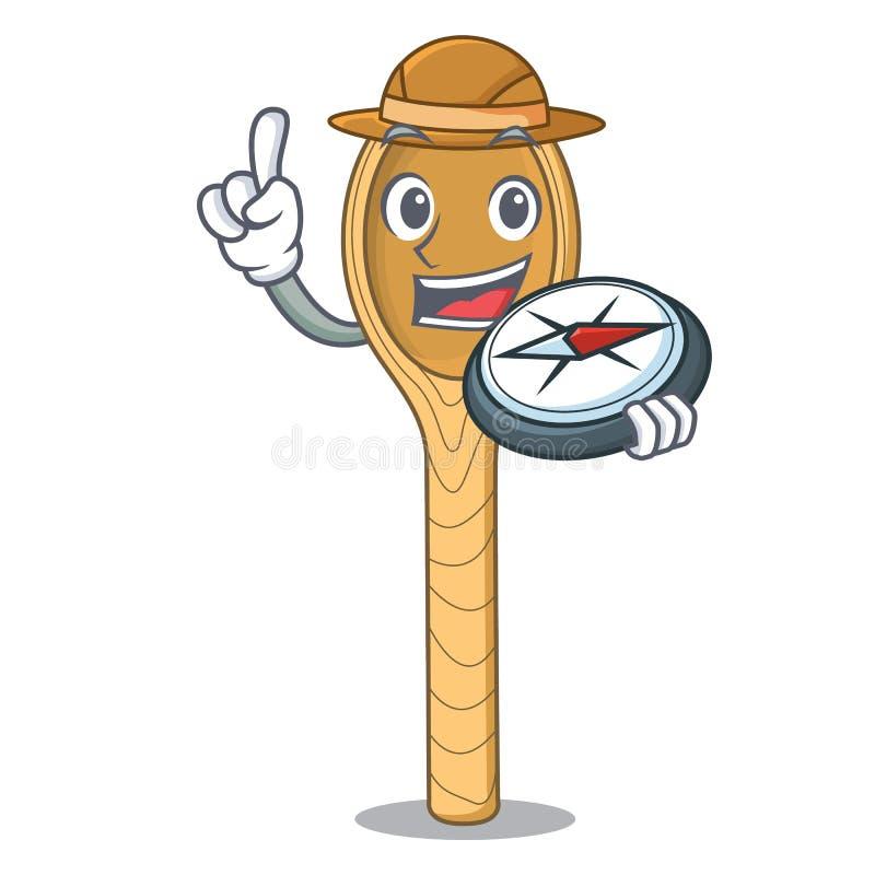 Fumetto di legno della mascotte del cucchiaio dell'esploratore illustrazione vettoriale