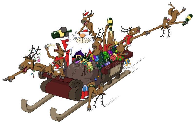 Fumetto di Natale del partito, giro di Sleigh illustrazione di stock