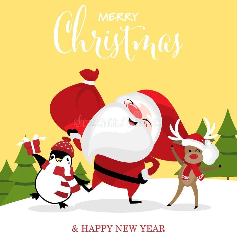 Fumetto di Natale di Santa Claus, della renna e dei pinguini sulla collina della neve con il testo del buon anno & di Buon Natale illustrazione di stock