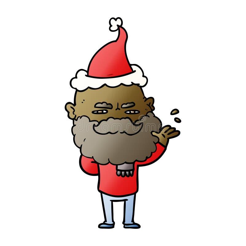 fumetto di pendenza di un uomo distante con il cappello d'uso aggrottante le sopracciglia di Santa della barba royalty illustrazione gratis