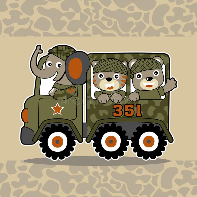 Fumetto di piccoli soldati animali illustrazione vettoriale