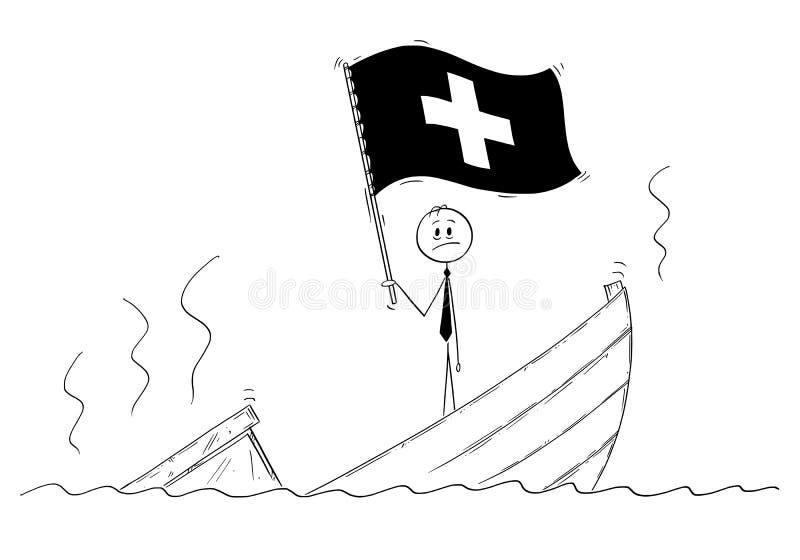 Fumetto di Politico Standing Depressed sulla barca d'affondamento che ondeggia la bandiera di Confederazione Svizzera o della Svi illustrazione di stock