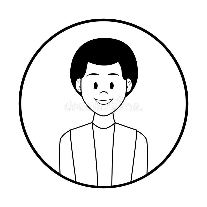Fumetto di profilo dell'uomo in bianco e nero illustrazione vettoriale
