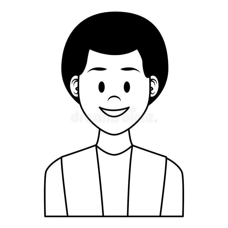 Fumetto di profilo dell'uomo in bianco e nero royalty illustrazione gratis