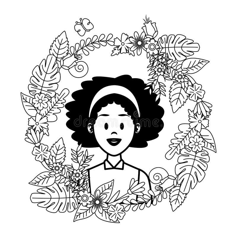 Fumetto di profilo della donna in bianco e nero illustrazione di stock