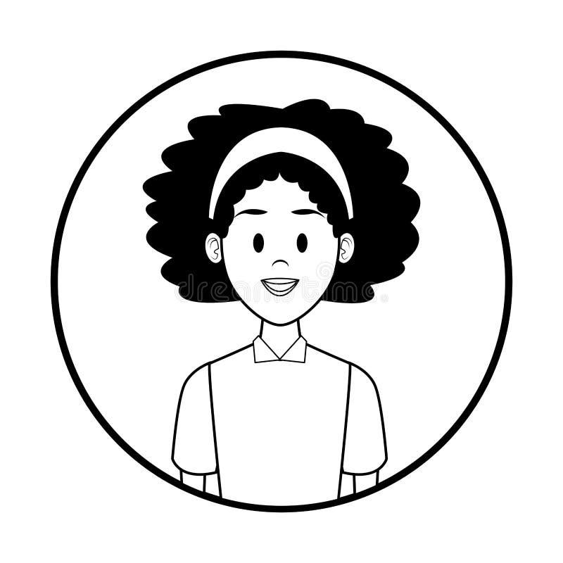 Fumetto di profilo della donna in bianco e nero royalty illustrazione gratis