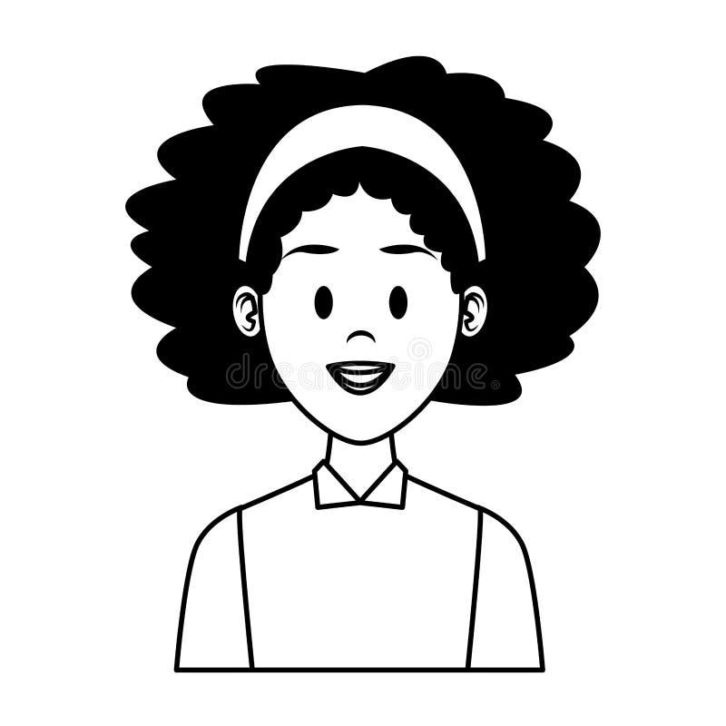 Fumetto di profilo della donna in bianco e nero illustrazione vettoriale