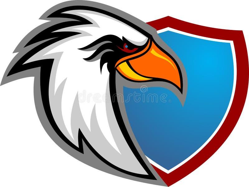 Fumetto di riserva della testa dell'aquila di logo con lo schermo immagini stock libere da diritti