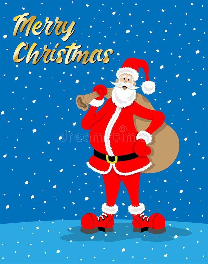 """Fumetto di Santa Claus con il messaggio di celebrazione di natale mentre """" royalty illustrazione gratis"""