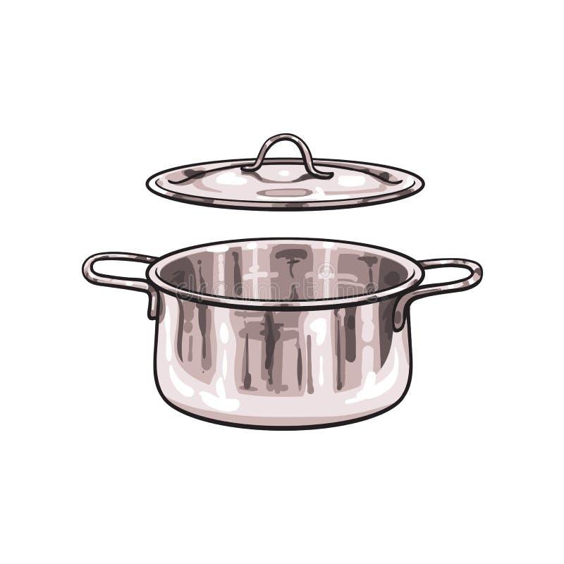 Fumetto di schizzo del vaso del cromo del metallo di vettore isolato royalty illustrazione gratis